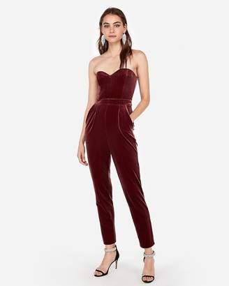 Express Velvet Strapless Sweetheart Jumpsuit