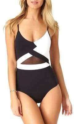 Anne Cole Mesh Colorblock One-Piece Swimsuit