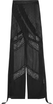 Givenchy Wide-Leg Pants In Black Satin Lace And Chiffon