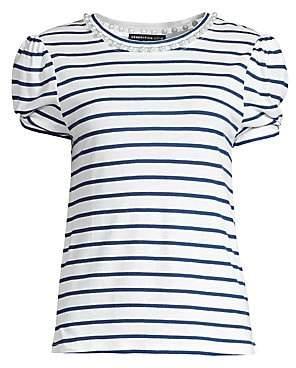 Generation Love Women's Elena Stripe Pearl Linen-Blend Tee