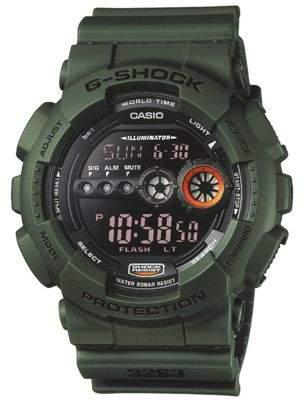 Casio Gd100Ms-3Er G-Shock Watchdisplay Flasherresin Strapwater Resistgreen