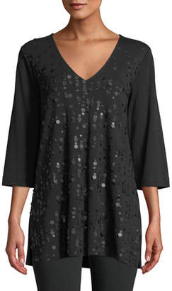 Joan Vass V-Neck 3/4-Sleeve Sequined-Front Cotton Interlock Tunic, Plus Size
