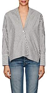 Nili Lotan Women's Sabine Striped Cotton Poplin Blouse-Black, White stripe