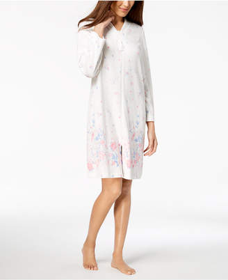at Macy s Charter Club Floral-Border Cotton Short Zip Robe 05c408025