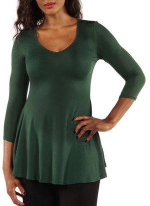 24/7 Comfort Apparel Women's Sublime Silky Black Tunic Top