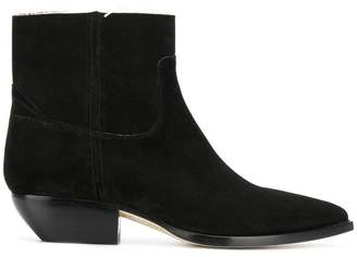 Saint Laurent frayed-edge pointed ankle boots