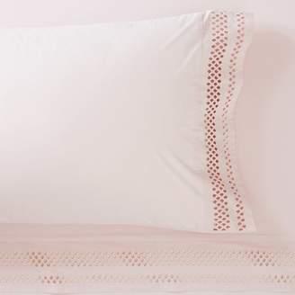 Pottery Barn Teen Diamond Eyelet Organic Sheet Set, Twin/Twin XL, Powdered Blush