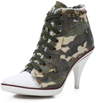 fereshte Women's High Heel Camouflage Lace up Fashion Sneaker Booties Camo Chunky