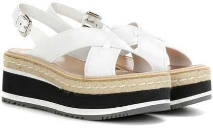 pradaPrada Leather Platform Sandals