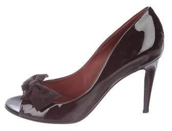 Bottega Veneta Leather Peep-Toe Heels