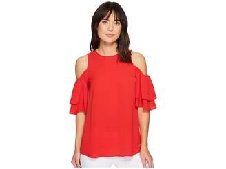 MICHAEL Michael Kors Cold Shoulder Flounce Top Women's Clothing