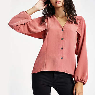 River Island Pink button up v neck blouse