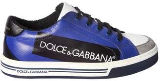 Dolce & Gabbana (ドルチェ & ガッバーナ) - DOLCE & GABBANA ロゴタグプリント レザースニーカー