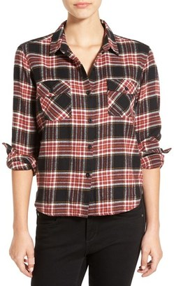 Volcom 'Cozy Day' Crop Plaid Flannel Shirt $49.50 thestylecure.com