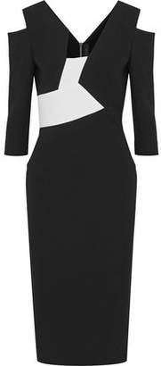 Roland Mouret Kiverton Cold-Shoulder Paneled Wool-Crepe Dress
