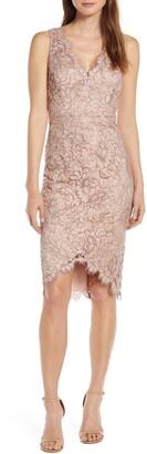 Eliza J Tulip Hem Lace Cocktail Dress
