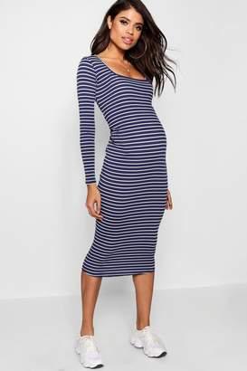 boohoo Maternity Square Neck Rib Stripe Midi Dress