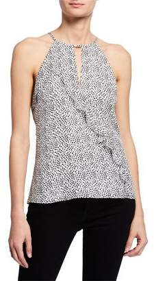Parker Ashley Spotted-Print Halter Top with Ruffle Trim