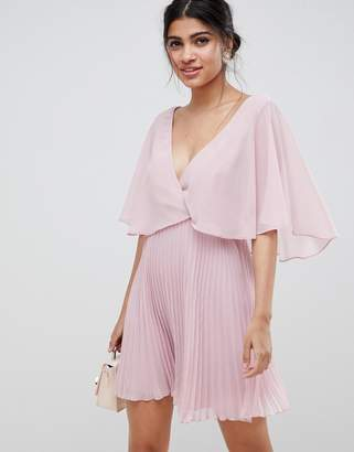 Asos (エイソス) - Asos Design ASOS DESIGN mini dress with pleat skirt and flutter sleeve