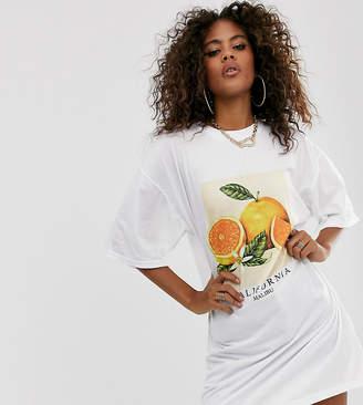 Missguided Tall orange print oversized t-shirt dress in white