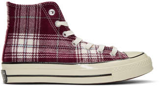 Converse Burgundy Plaid Chuck 70 High Sneakers