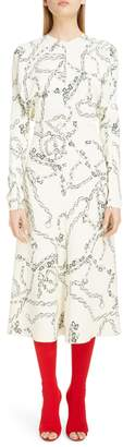 Victoria Beckham Chain Print Long Sleeve Midi Dress