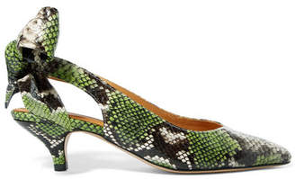 Ganni Sabine Snake-effect Leather Slingback Pumps - Snake print