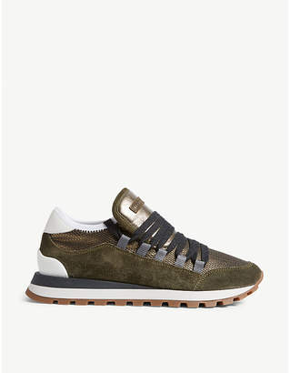 Brunello Cucinelli Suede and mesh trainers