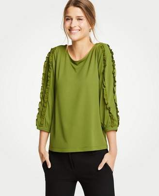 Ann Taylor Ruffled 3/4 Sleeve Top