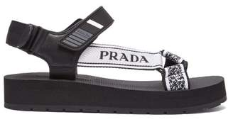 Prada Logo Embroidered Nylon Sandals - Womens - Black White
