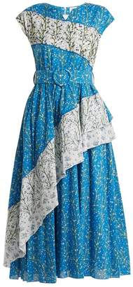 Gül Hürgel Gul Hurgel - Bead Embellished Floral Print Dress - Womens - Blue Print