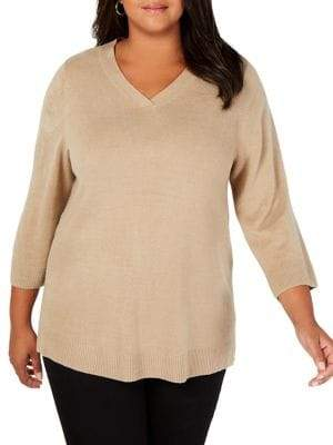 Karen Scott Plus Classic V-Neck Sweater