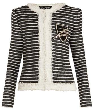 Balmain Striped Tweed Jacket - Womens - Black White