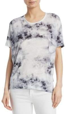 Majestic Filatures Tie-Dye Drop Shoulder Linen Top