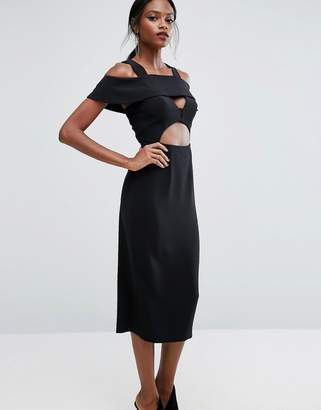 Aq/Aq AQ AQ Midi Dress with Frill detail