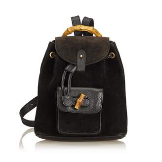 Gucci Vintage Bamboo Black Suede Backpacks 721f9d601c722