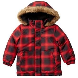 Joe Fresh Allover Plaid Faux Fur Hooded Parka (Toddler & Little Boys)