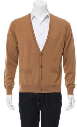 Dries Van Noten Wool Rib Knit Cardigan