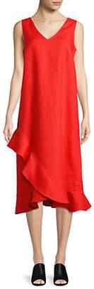 Lord & Taylor Petite Ruffled Hem Linen Dress