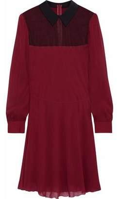 RED Valentino Point D'esprit-Paneled Silk-Blend Chiffon Mini Dress