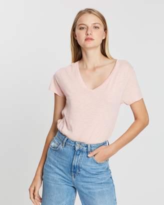American Vintage V-Neck Short Sleeve Melange T-Shirt
