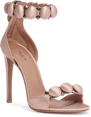 Alaia Dark blush 110 satin bomb sandals