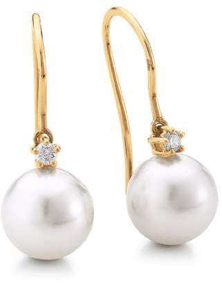 Adriana Stella Di Notte N18 Women's Pierced Earrings South Sea Cultured Pearl Brilliant 585 yellow gold