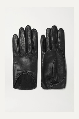 Agnelle Josie Bow-embellished Leather Gloves - Black