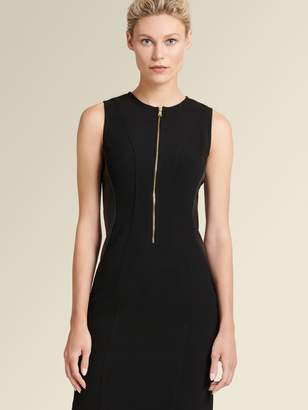 DKNY Sheath Dress With Faux-Leather Panels