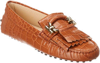 Tod's Croc-Embossed Fringe Leather Mocassin