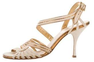 Chanel Metallic-Trimmed Ankle Strap Sandals