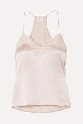 CAMI NYC The Racer Lace-trimmed Silk-charmeuse Camisole - Beige