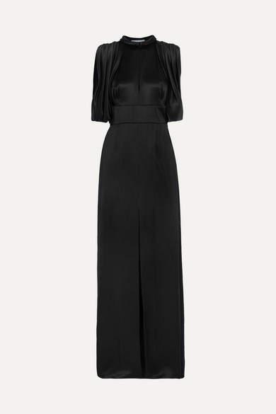 Prada - Draped Satin Gown - Black