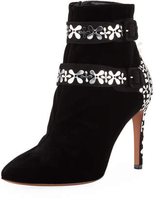 Alaia Velvet Flower-Embellished Two-Buckle Ankle Booties